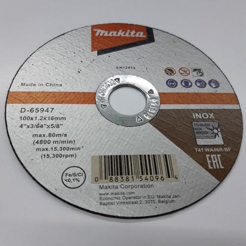 Đá cắt mỏng cho Inox 100x1.2x16mm Makita D-65947