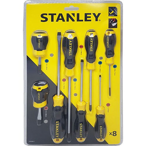 Bộ tuốc nơ vít dẹp và bake 8 cây Stanley STMT66673