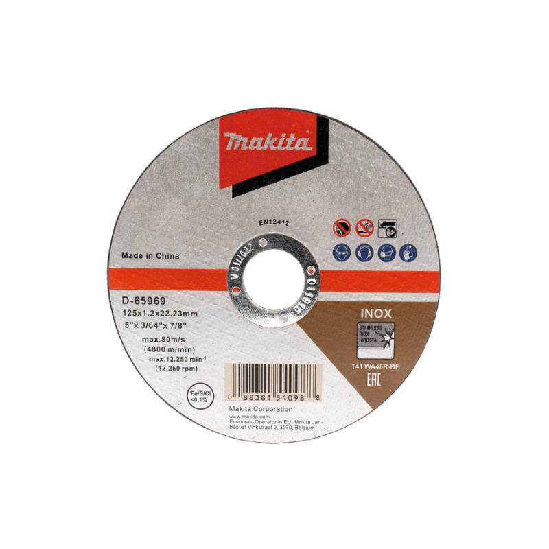 Đá cắt inox mỏng Makita D-65969 (125x1, 2x22.23mm)