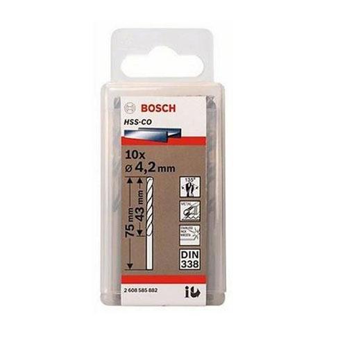 Hộp 10 Mũi khoan sắt và inox HSS-Co Bosch 2608585882 4.2mm