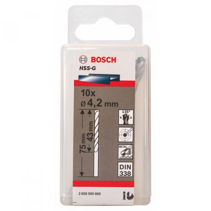 Bộ mũi khoan sắt 10 mũi HSS-G Bosch 2608595060 (4.2mm)