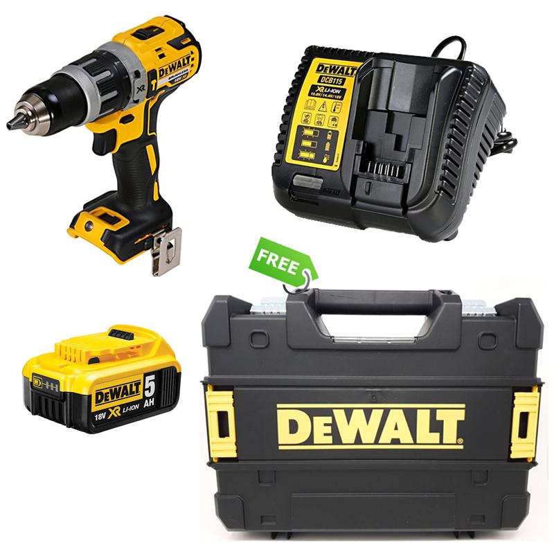 Combo Dewalt - Thân Máy Khoan Pin + Pin 18V-5.0Ah + Đế Sạc Pin 10.8V-18V - Tặng Vali Nhựa