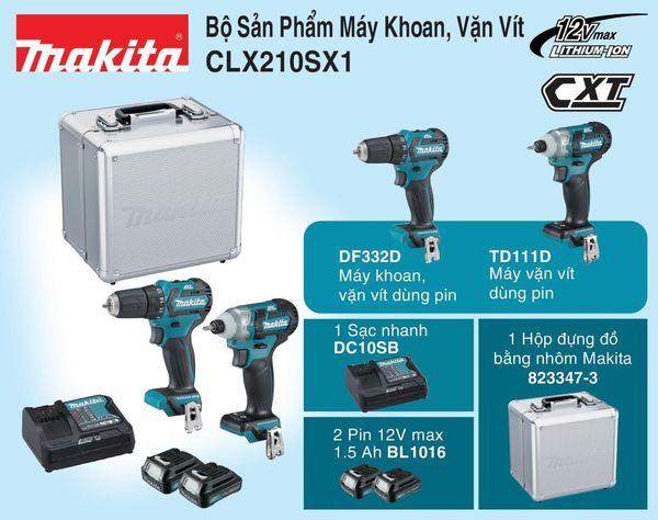 Bộ máy khoan vặn vít Makita CLX210SX1