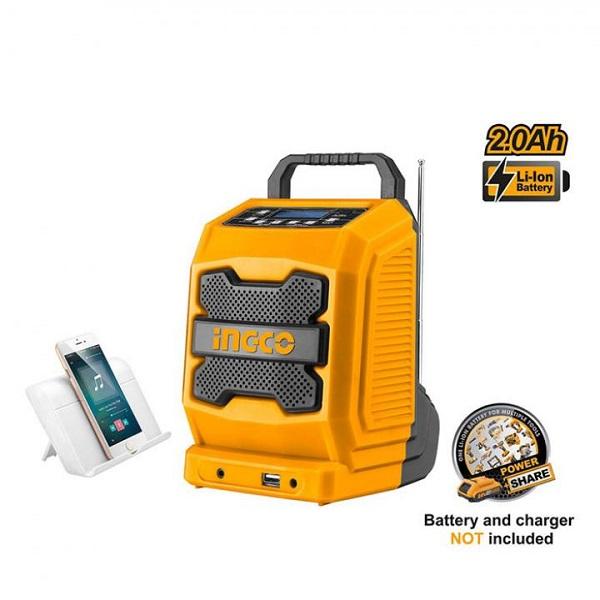 Radio công trường dùng pin Lithium Ingco CJRLI2001 (20V) (Chưa kèm pin và sạc)