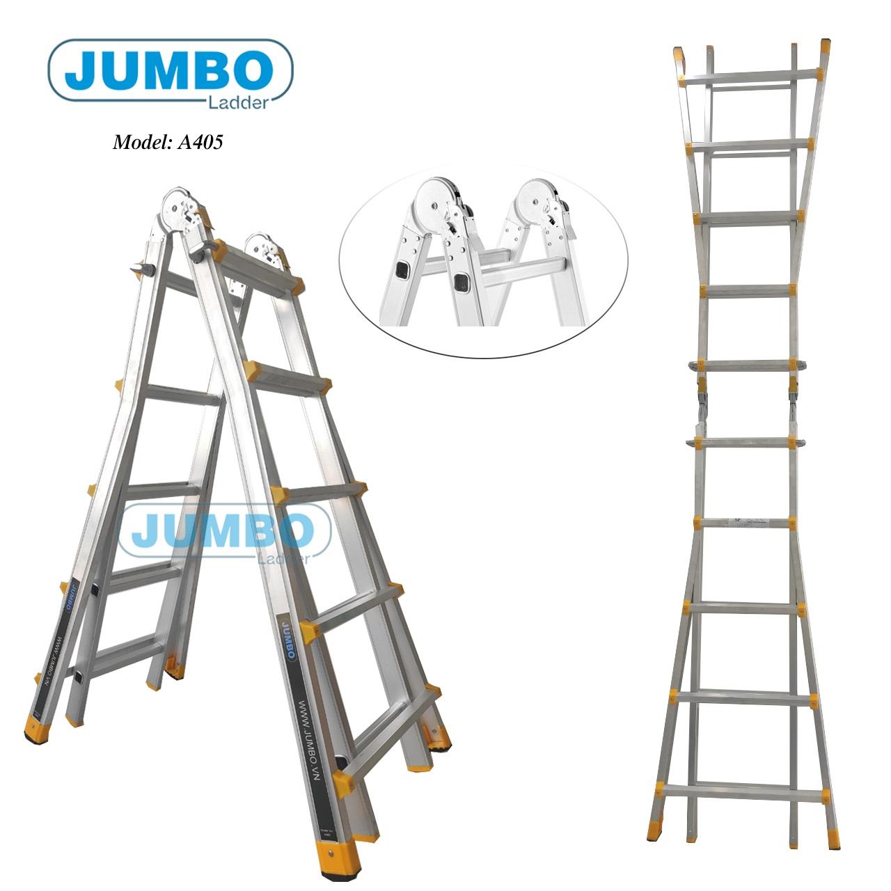 Thang nhôm gấp chữ A mở rộng Jumbo A405