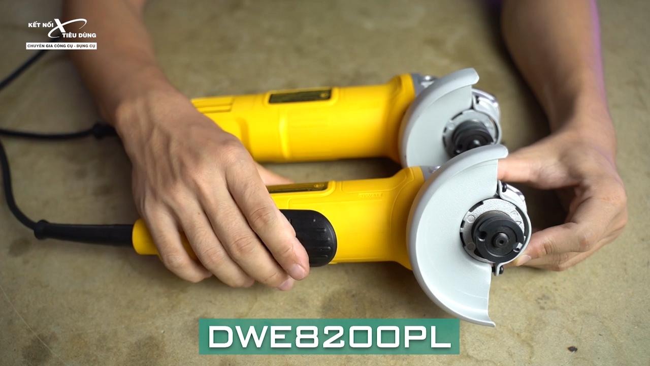 Dewalt DWE8200PL được trang bị công tắc bóp an toàn ngay trên thân máy giúp anh em có thể dừng máy nhanh chóng