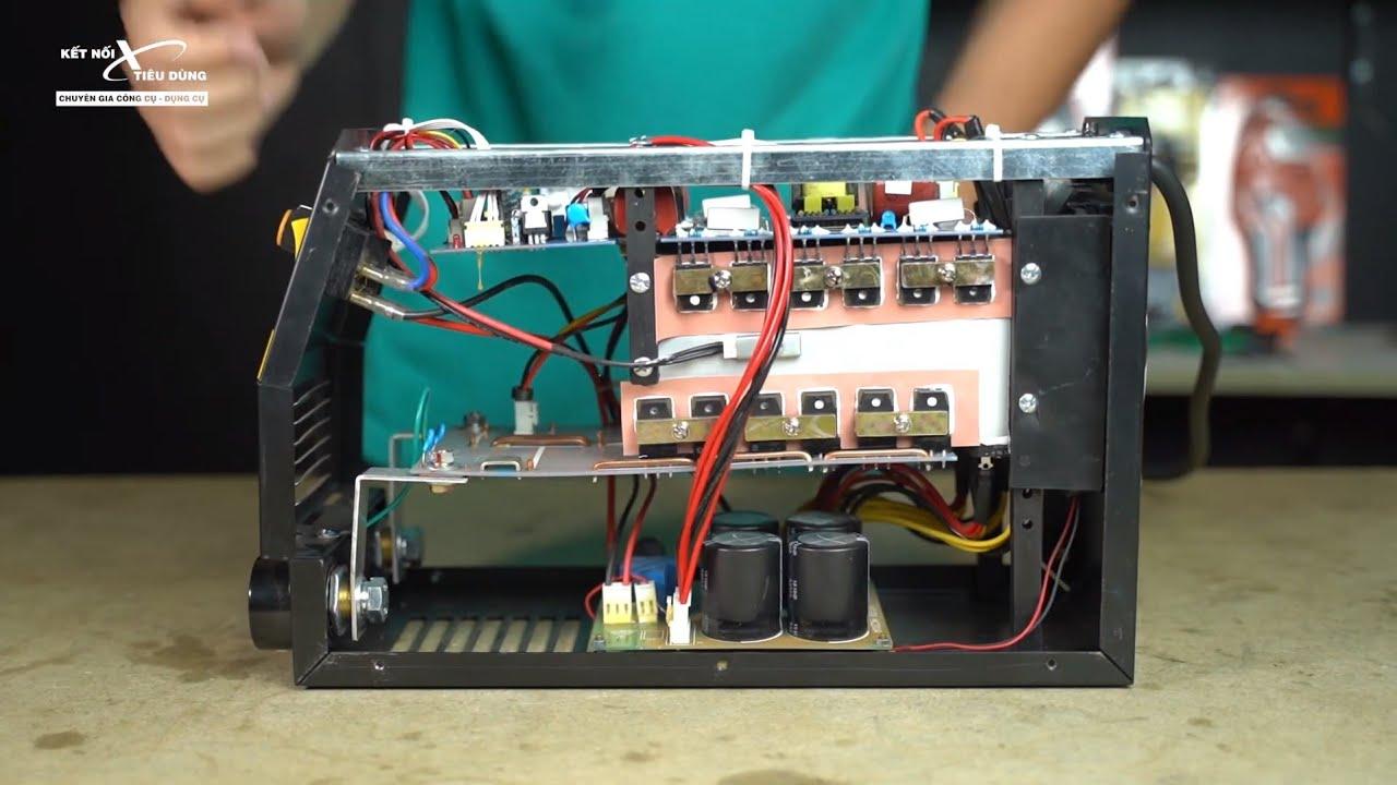 Máy hàn que HK-200A-PK sử dụng công nghệ MOSFET với 3 bo, 4 tụ, mạnh mẽ và bền bỉ
