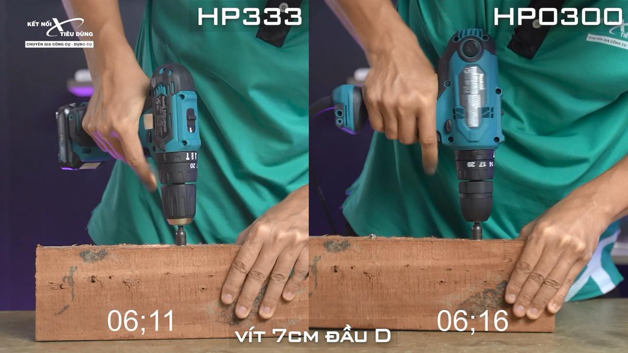 Test về khả năng hoạt động của hai máy khoan với vít 7cm đầu D