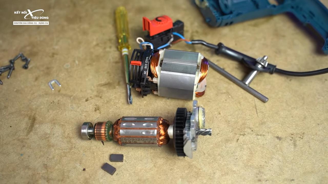 Cách mở máy khoan Bosch GSB 16RE thay chổi than, rotor, stator, cò điều tốc - tìm hiểu rotor, stator trong máy khoan