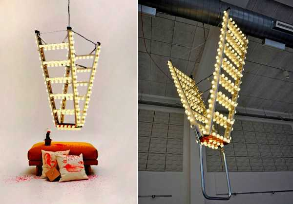 Đèn chùm treo trần từ những chiếc thang cũ đang là xu hướng của mọi người.