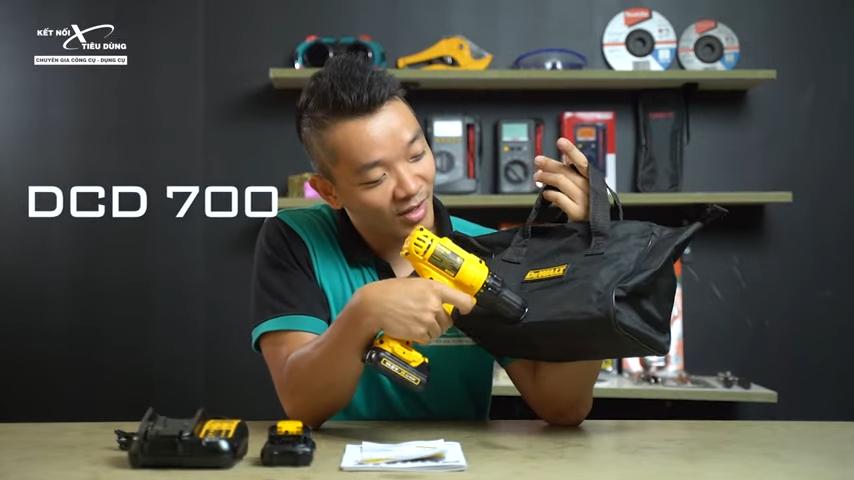 Máy khoan bắn vít pin cực rẻ của Dewalt - DCD700C1, DCD700C2 - máy khoan bắn vít Dewalt DCD700 được sản xuất theo chuẩn công nghệ hiện đại từ thương hiệu nổi tiếng thế giới