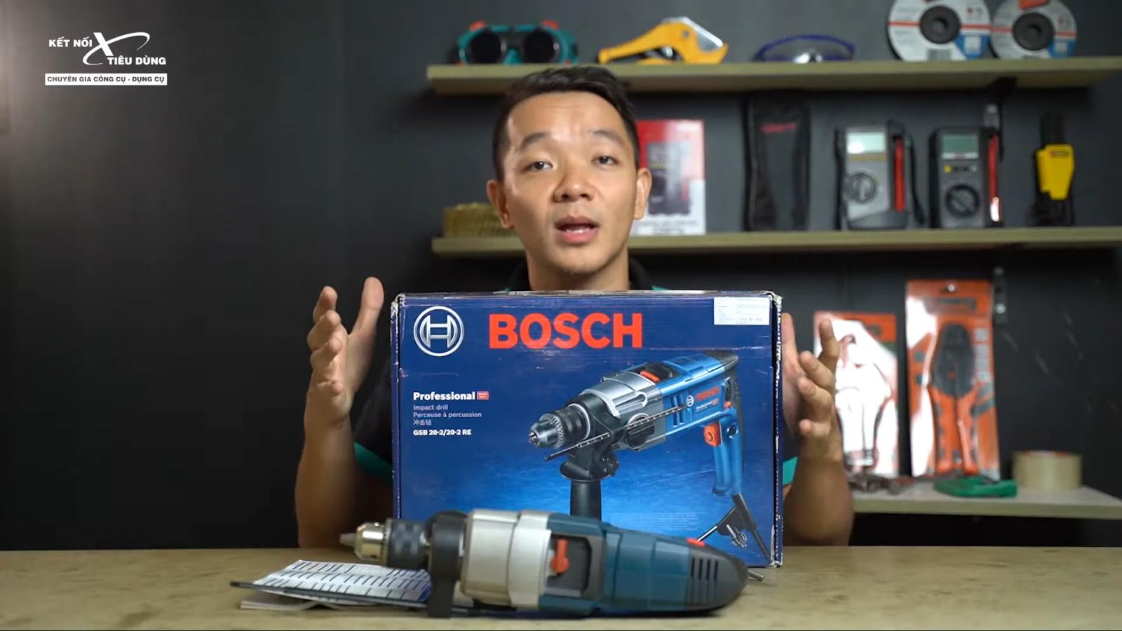 Review máy khoan động lực Bosch GSB 20-2RE: 800W, có búa, hộp số 2 cấp, đi công trinh ngon - địa chỉ mua máy khoan